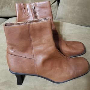 Brown Leather Booties with ankle zipper
